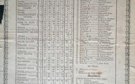Sunderland WM Circuit Preaching Plan 1868