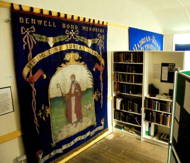 The banner is now on permanent display in the Newcastle Methodist District Archives repository at Felling | From the collections of the Newcastle upon Tyne Methodist District Archives