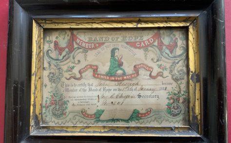 Temperance pledge card from Newlyn Wesleyan Chapel Cornwall 1861