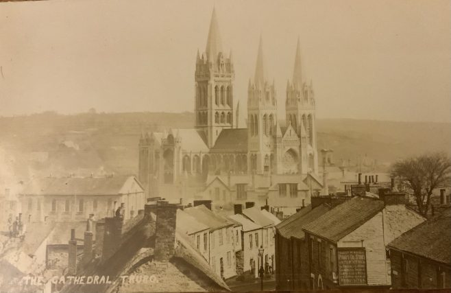 Truro cathedral with the St Mary's Wesleyan Church in the foreground