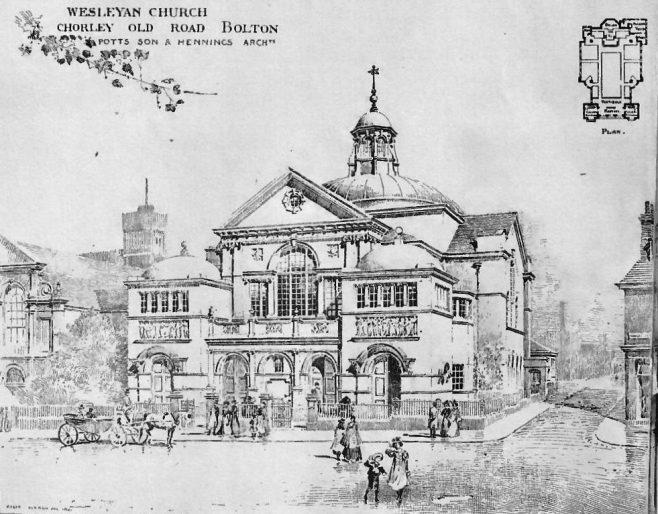 Bolton, Chorley Old Road Wesleyan Church   The Building News, 1904