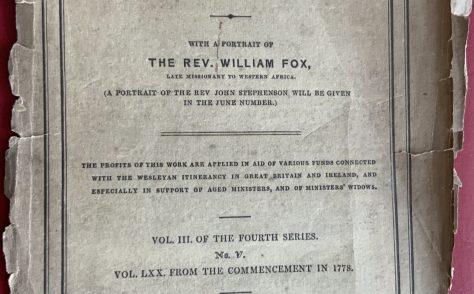 Wesleyan Methodist Magazine 1847 edition with advert for wine