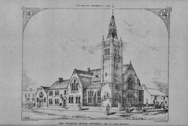New Wesleyan Church, Gosforth   The Builder, 1883