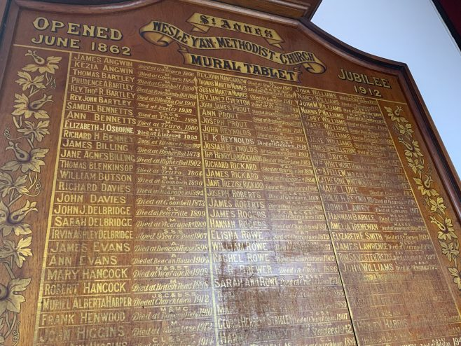 St Agnes former Wesleyan Methodist Church Memorial board church Jubilee