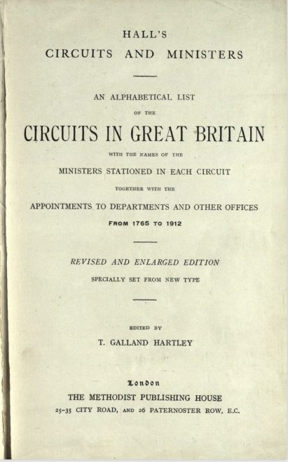 Hall's Circuits and Ministers: 1765-1912 | The Methodist Publishing House