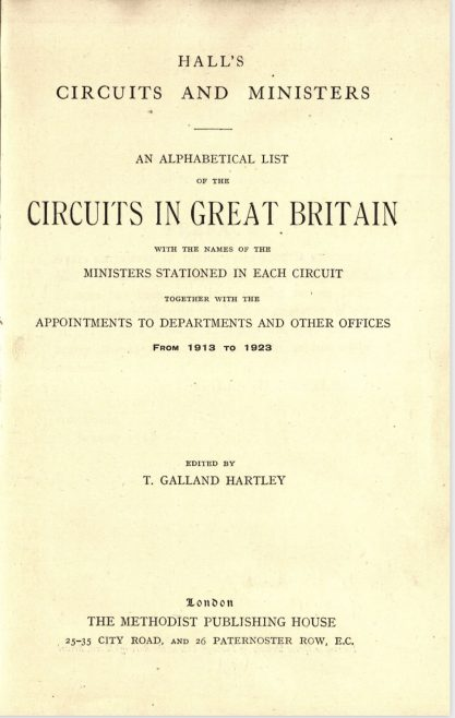 Hall's Circuits and Ministers 1913 to 1923 | The Methodist Publishing House