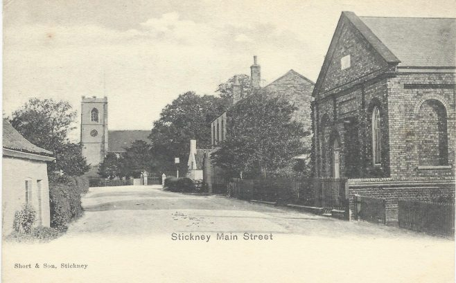 Stickney Wesleyan Methodist chapel, in the foreground on the right hand side of Main Street.   postcard provided by Randle Knight 2021