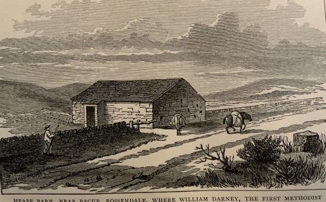 Bacup, first Wesleyan service in 'Heape Barn'