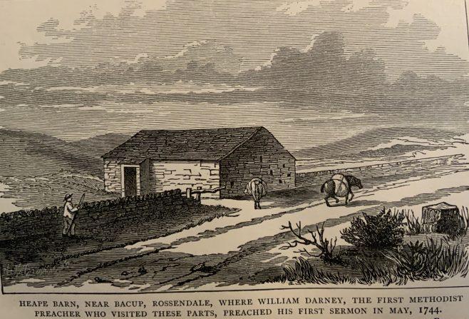 Bacup Lancashire, first Wesleyan service in 'Heape Barn'