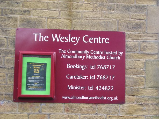 Almondbury WM Chapel, Sunday schools, notice board | G W Oxley