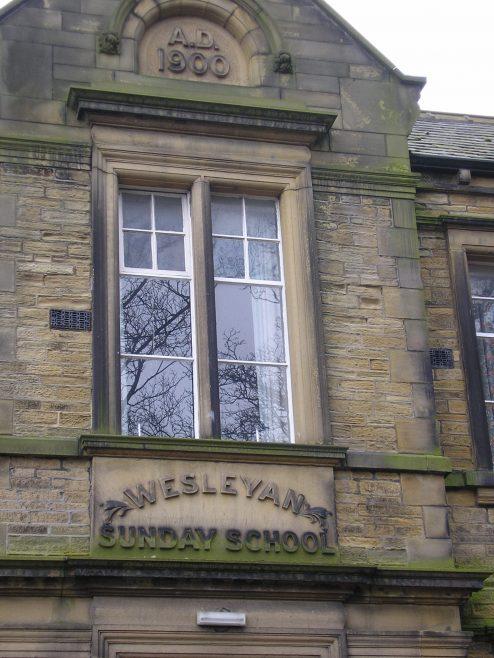 Almondbury WM Chapel, Ssunday schools, plaque | G W Oxley