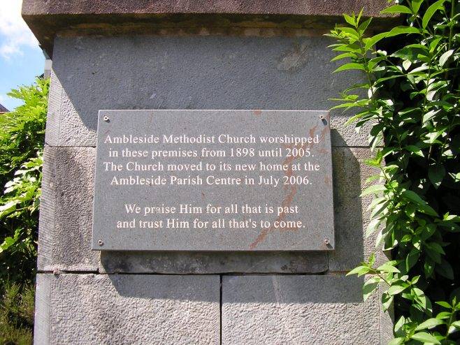 Ambleside, Millans Park, WM Chapel plaque, 8.7.2017 | G W Oxley