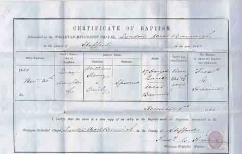Baptism Certificate 1880
