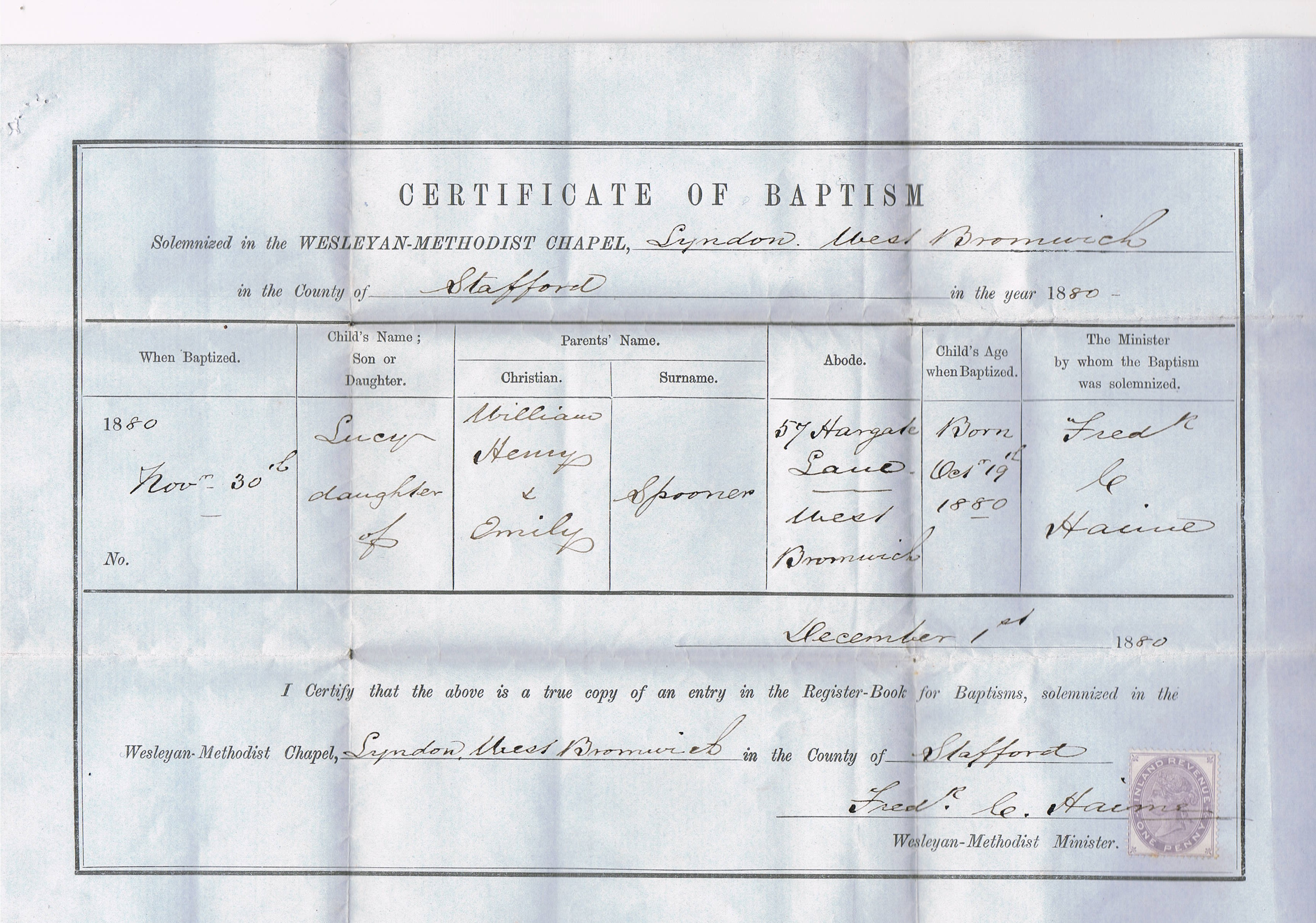 Baptism Certificate 1880 Family History My Wesleyan Methodists