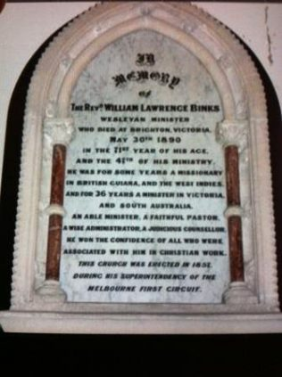 Memorial Tablet at Wesley Uniting Church