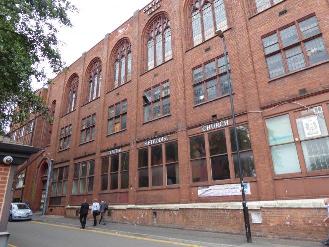 Birmingham Central Hall, Wesleyan  Chapel, Dalton Street facade southern end, 18.7.2018   G W Oxley
