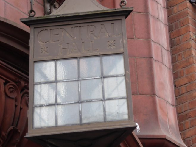 Birmingham Central Hall, Wesleyan  Chapel, ,lantern over subsidiary entrance in Corporation Street , 18.7.2018 | G W Oxley