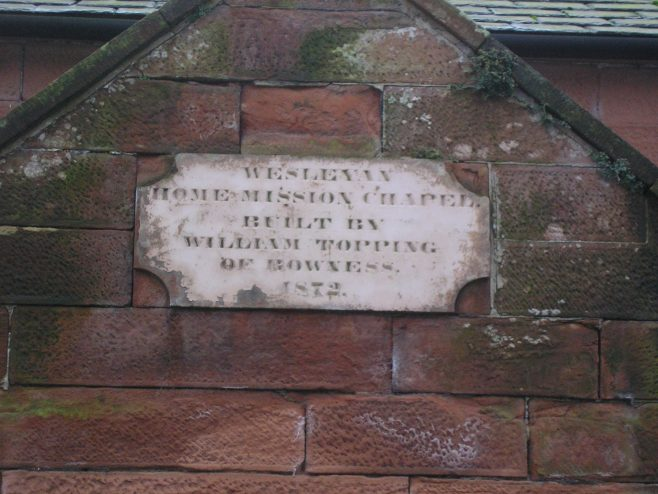 Bowness on Solwayl WM Chapel, plaque  23.1.2016 | G W Oxley