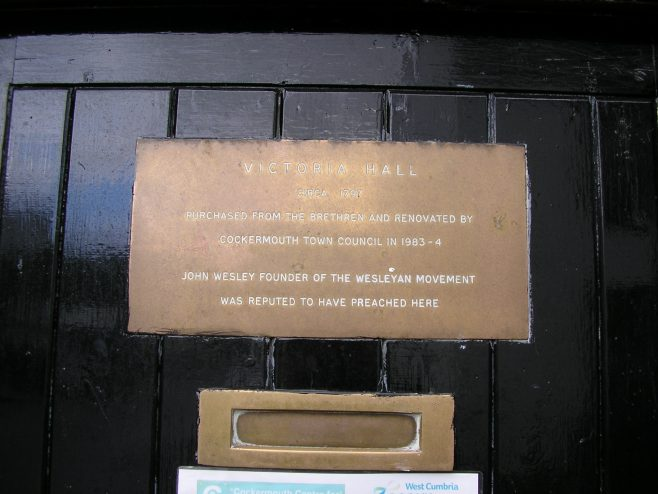 Cockermouth, High Sand Went, (Victoria Hall) plaque 09.11.2013 | G W Oxley