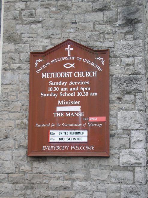 Dalton in Furness, Wellington Street WM Chapel, notice board, 3.7.2016 | G W Oxley