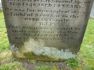 William's parents' grave in St Romald's Romaldkirk