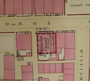 Ground plan of Wigton, George Street  WM  Chapel from 0S 1 to 500 Cumberland XXIX 5 25 circa 1860 ii   g