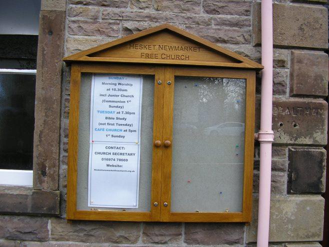 Hesket Newmarket WM Chapel, notice board 30.4.2016   G W Oxley