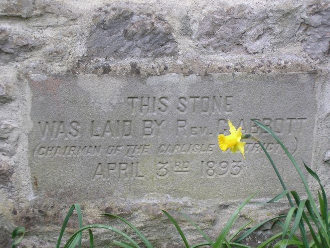 Kirby Lonsadale, WM Chapel, 1893 extensions,foundation stone (i), 13 April 2016 | G W Oxley