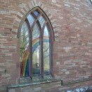Kirkoswald Main Street  WM Chapel, decorated window in north gable 24.02.2018