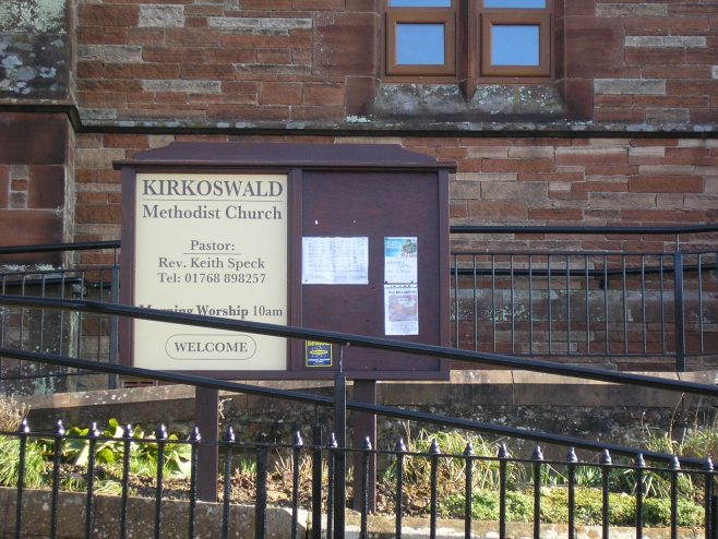 Kirkoswald Main Street  WM Chapel, notice board, 24.02.2018 | G W Oxley