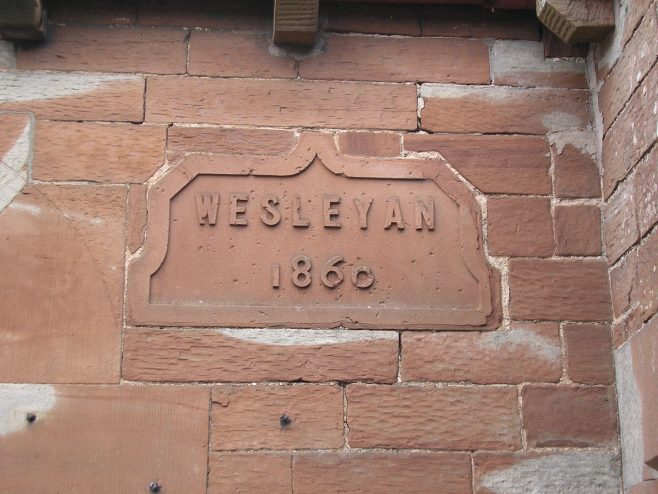 Langwathby WM Chapel, date plaque on chapel, 25.4.2015   GW Oxley