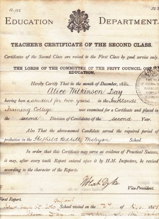 Teacher's Certificate awarded to Alice Day in 1884