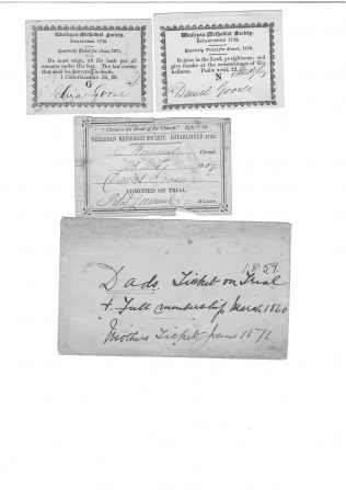 Membership tickets from 1860 and 1871