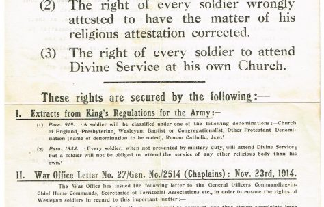 Religious Rights of Wesleyan Soldiers in WW1