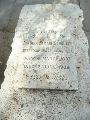 Grave of Rev Dirk Almair Schouten at Road Town Methodist Church, Tortola