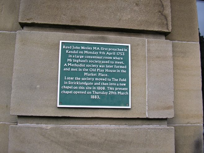Wesleyan Chapel, Stricklandgate, Kendal, plaque, 13.04.2014 | GW Oxley