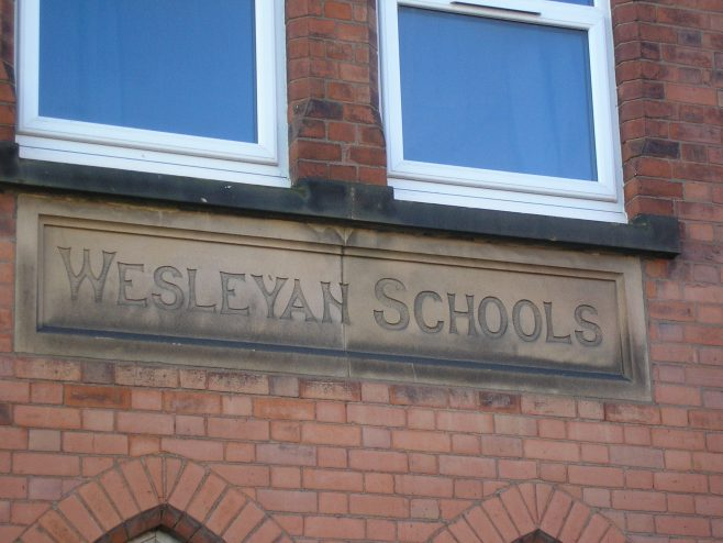 Wigston Mana WM Chapel,  school name plaque,  18.12.2017 | G W Oxley